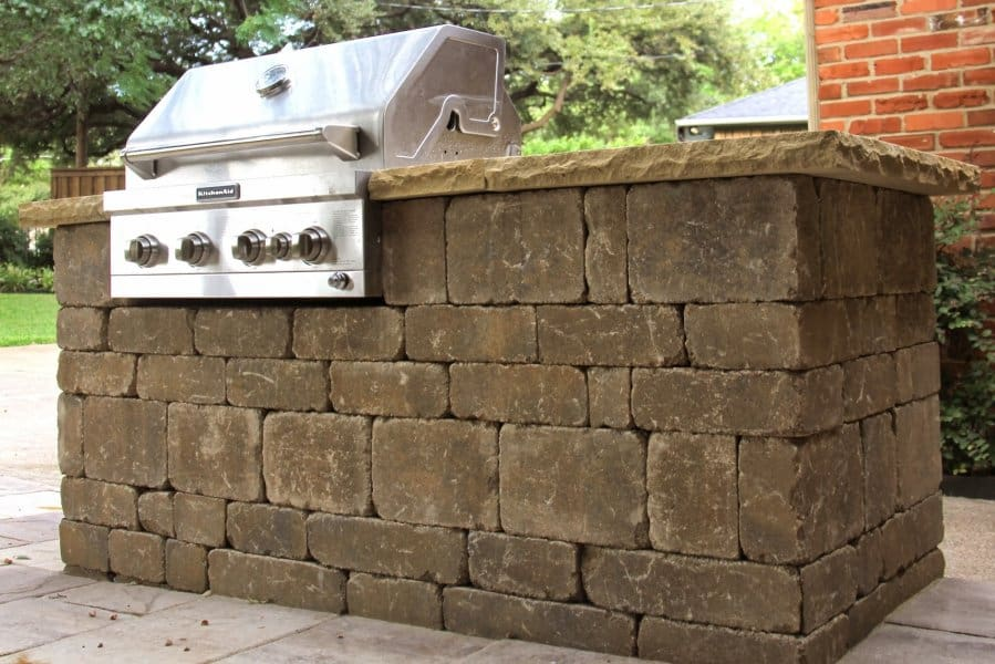 Outdoor grill state in backyard kitchen