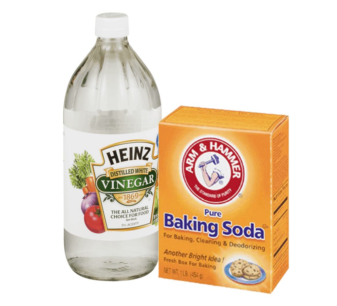 White vinegar and baking soda as eco-friendly options to clean a patio