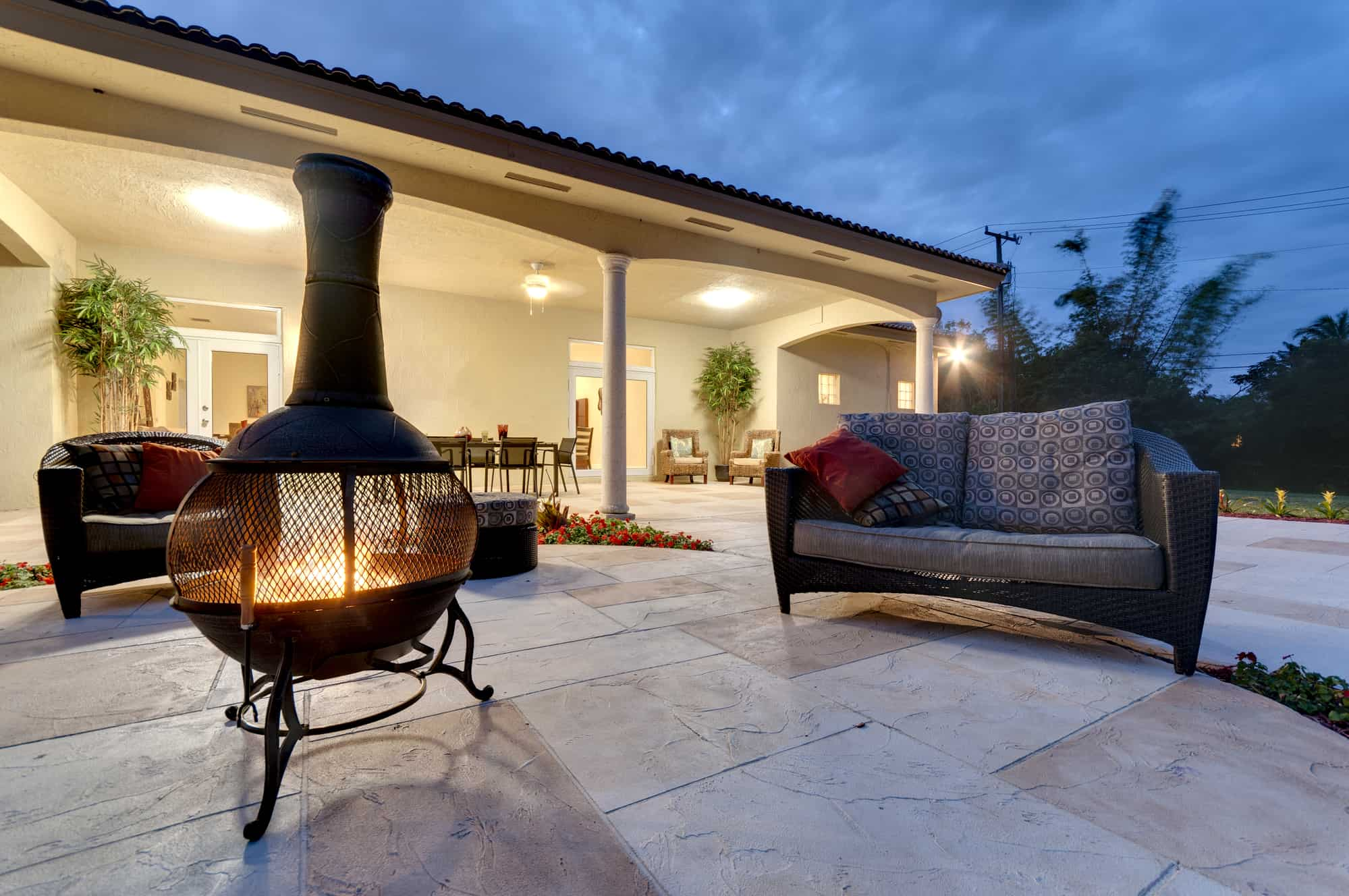 Chiminea in backyard space