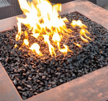 Square fire pit on rooftop